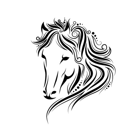 Stylized doodle and curls horse portrait. ink tribal horse head design, perfect for logo or tattoo, hand drawn unique tangle illustration isolated on white background