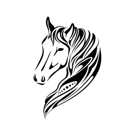 stylized hand drawn image of horse head design isolated on a white background, Vector horse head for tattoo logo illustration in linear doodle black graphic style.