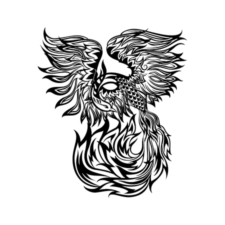 Tattoo with flaming phoenix in doodle tribal style. hand drawn stylized illustration. Illustration
