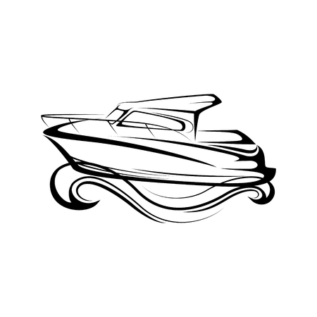 boat line icon with waves on sea. Universal Minimal Modern Thin Line Black Icon isolated on White Background. graphic illustration Illustration