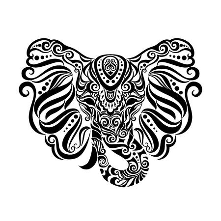 빈티지 스타일 민족적인 부족 장식품과 벡터 코끼리입니다. 이상적인 민족 배경, 문신 예술, 요가 등. 일러스트