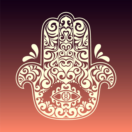 Vector hamsa hand drawn symbol with tribal ethnic floral monochrome ornaments. oriental all see eye in zen tangle ornament doodle style tattoo. Illustration