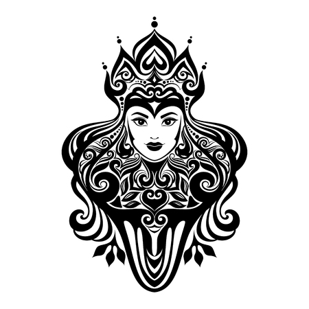 Tribal tattoo illustration of girl face and hair Beautiful asian princess divine girl with ornate hair. Adult anti stress coloring book page. Illustration