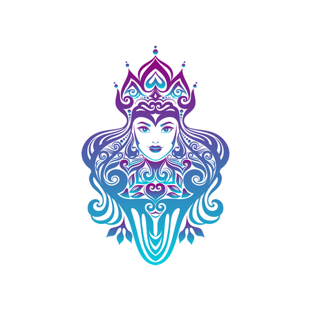 Tribal tattoo illustration of girl face and hair Beautiful asian princess divine girl with ornate hair.