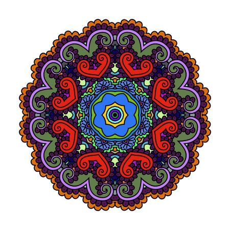 Ornament color card with mandala. Vintage decorative elements. Hand drawn background. Logo.