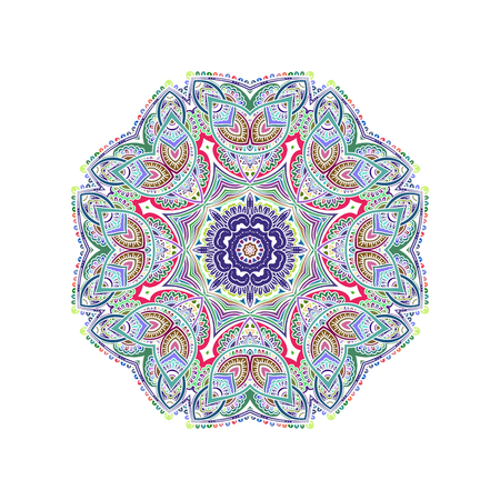 Ornament color card with mandala with white lines. Vintage decorative elements. Hand drawn background.