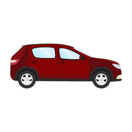 automobile door: red hatchback flat style side view of Car vector template on white background. Illustration