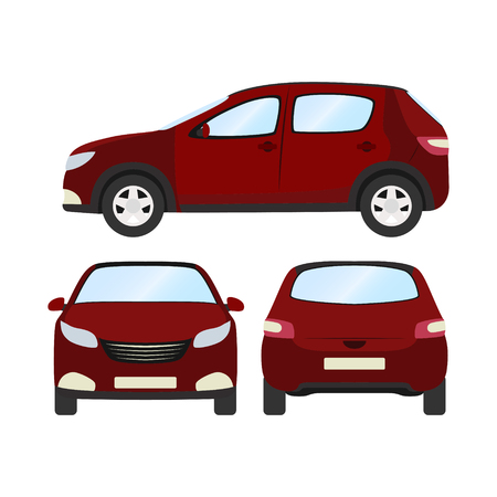 Front side and back view of red hatchback flat style car vector template on white background.