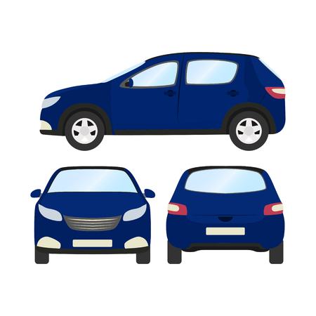 Front side and back view of car vector template on white background. Illustration