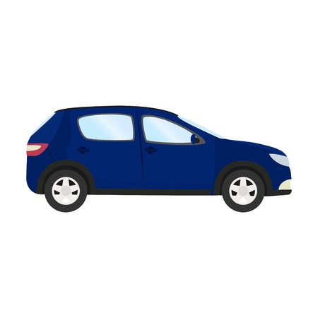 Side view of blue hatchback flat style car vector template on white background.