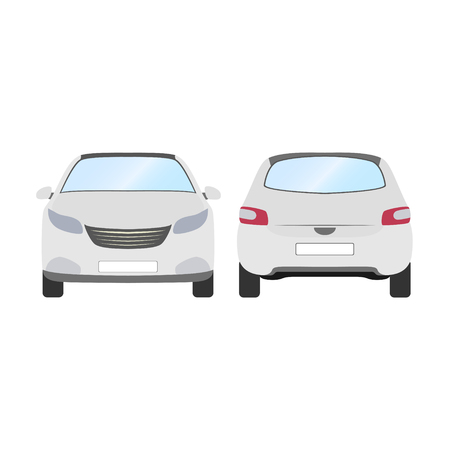 Front and Back view of white hatchback car vector template on white background.