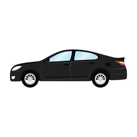 automobile door: Car vector template on white background. Business sedan isolated. black sedan flat style. side view. Illustration