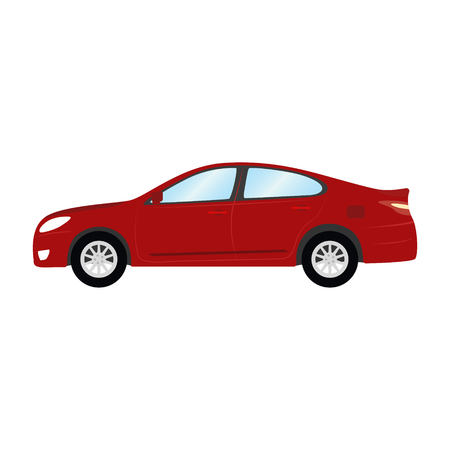 Car vector template on white background. Business sedan isolated. red sedan flat style. side view. Illustration