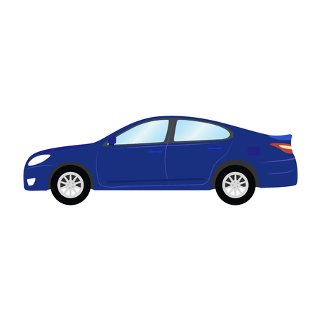 Car vector template on white background. Business sedan isolated. blue sedan flat style. side view.