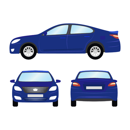 Car vector template on white background. Business sedan isolated. blue sedan flat style. side back front view. Stok Fotoğraf - 84070231