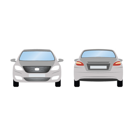 Car vector template on white background. Business sedan isolated. grey sedan flat style. side back front view.