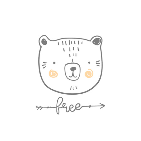 drawing room: stylized outline hand drawn Illustration of cute bear head with free quote. design for kids print clothing textile cards and other Illustration
