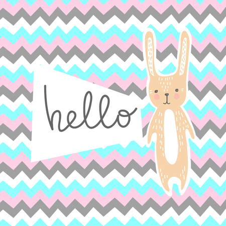 baby announcement card: Baby shower invitation card with cute bunny. Illustration
