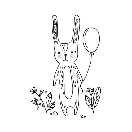 Uitnodigingskaart voor baby douche met schattig konijntje.