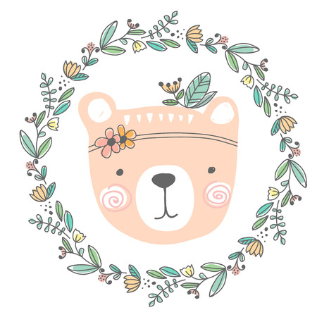 stylized colored hand drawn Illustration of cute bear head with flowers and leaves. design for kids print clothing textile cards and other.
