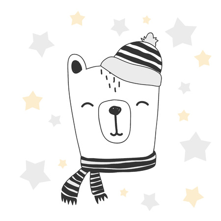 drawing room: stylized colored hand drawn Illustration of cute bear head. winter background design for kids print clothing textile cards and other.
