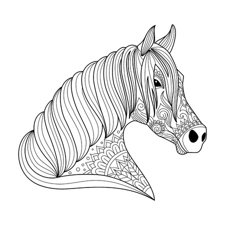 Drawing horse zentangle style for adult and children coloring book, tattoo, shirt design, logo, sign. stylized illustration of horse unicorn in tangle doodle style