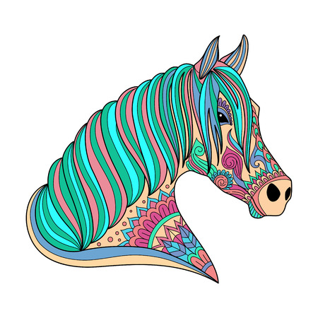 stylized drawing horse zentangle style for coloring book, tattoo, shirt design, logo, sign. stylized illustration of horse unicorn in tangle doodle style in colors