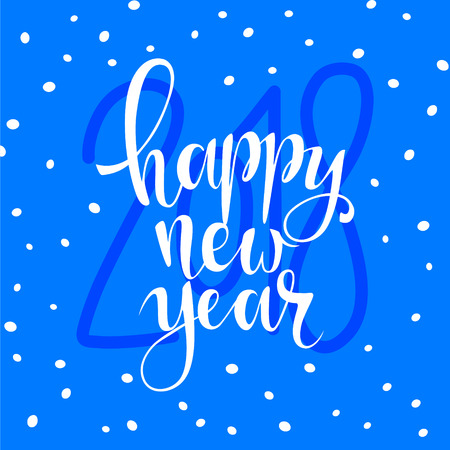 christmas greeting card: Happy new year brush hand lettering, Vector illustration. Can be used for holidays festive design. white lettering on blue background with snowflakes