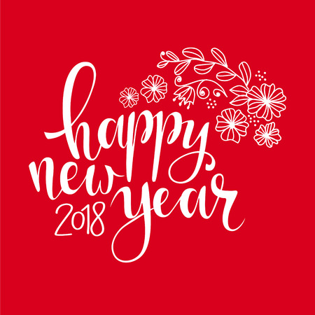 christmas greeting card: Happy new year brush hand lettering, Vector illustration. Can be used for holidays festive design. white lettering on red background