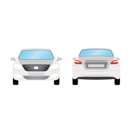 Car vector template on white background. Business sedan isolated. white sedan flat style. side back front view.