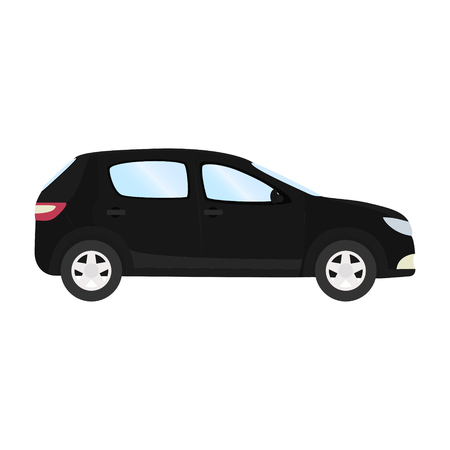 Car vector template on white background. Business hatchback isolated. black hatchback flat style. side view. Illustration