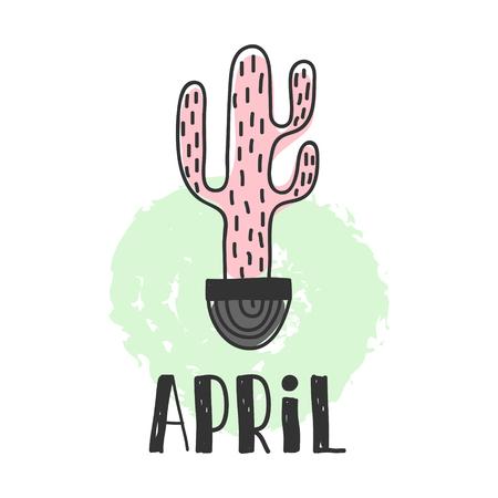 Calendrier 2018 année avril mois. Vecteur stock Calendrier amusant et mignon avec des plantes succulentes dessinées à la main et des plantes de cactus. couleurs mignonnes.
