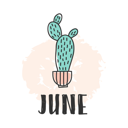 Calendar 2018 year june month. Stock vector. Fun and cute calendar with hand drawn succulents and cactus plants. cute colors.
