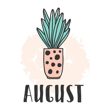 Calendar 2018 year august month. Stock vector. Fun and cute calendar with hand drawn succulents and cactus plants. cute colors.