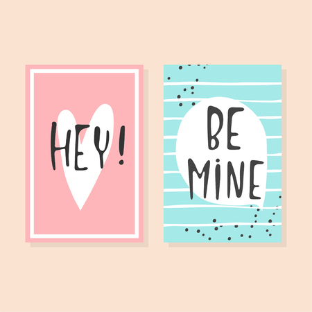 Collection of pink, black, white colored Valentine's day card, kiss me, be mine, love me flyer templates with lettering. Typography poster, card, label, banner design set.