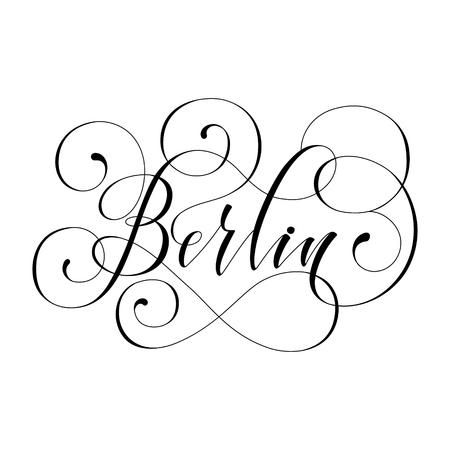 berlin City hand written lettering. Modern brush calligraphy. Tee print apparel fashion design. Hand crafted wall decor art poster. flourish retro style isolated on white 免版税图像