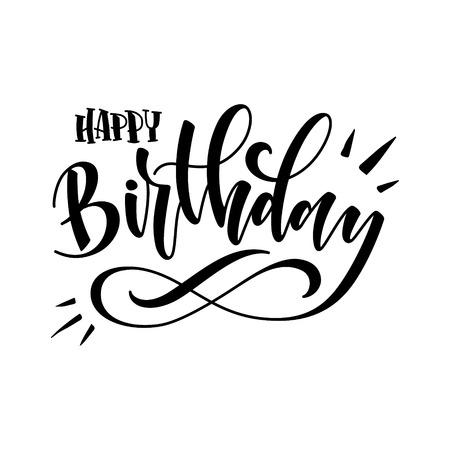 Vector illustration: Handwritten modern brush lettering of Happy Birthday on white background. Typography design. Greetings card. 矢量图像