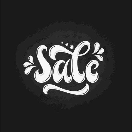 Sale Hand lettering Design Template. Typography Vector Background. Handmade calligraphy. Easy paste to any background. 矢量图像
