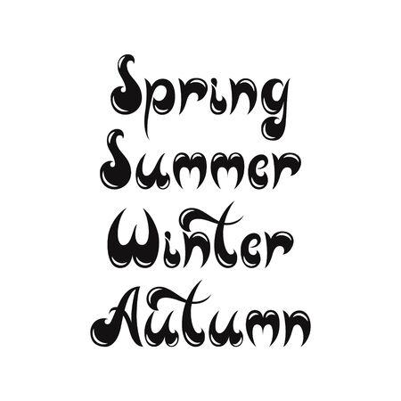 Lettering of seasons illustration for postcards print textile.