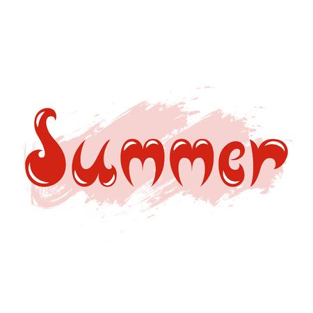 Summer in color red lettering illustration for postcards print textile. 矢量图像
