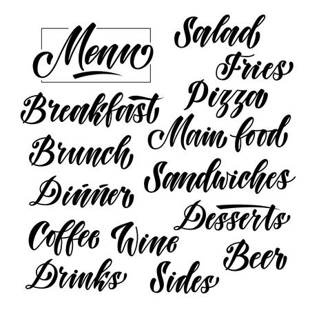 menu headlines, cuisine elements hand lettering set. Unique font modern lettering calligraphy 矢量图像
