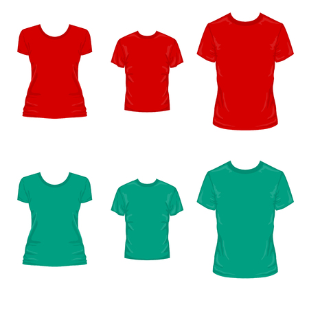 Set of templates colored t-shirts for men women and kids.