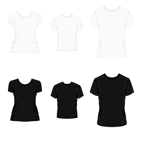 Set of back and white templates colored t-shirts for men women and kids. 矢量图像