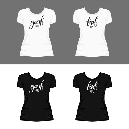 Set of templates of white and black t-shirts with print good girl bad girl lettering for women. 矢量图像