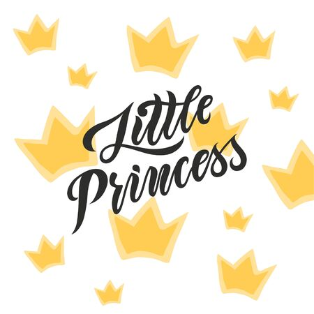 Hand drawn illustration with gold crowns backgound and lettering. Sketch background vector. Doodle design Little princess quote for print invitation and kid goods 矢量图像