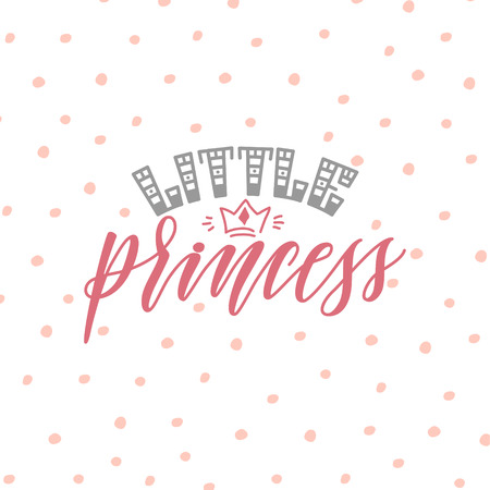 Ilustración de vector de la cita de letras de la mano de la pequeña princesa sobre fondo de puntos rosados, texto para ropa de niñas. Insignia real, etiqueta, icono. Tarjeta de cita inspiradora, invitación, pancarta, cartel de letras Ilustración de vector