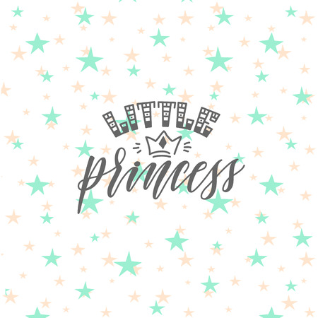 Vector illustration of Little Princess hand lettering quote, text for girls clothes. Royal badge, tag, icon. Inspirational quote card, invitation, banner, lettering poster