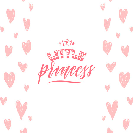 Vector illustration of Little Princess hand lettering quote on pink heart background, text for girls clothes. Royal badge, tag, icon. Inspirational quote card, invitation, banner, lettering poster