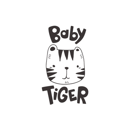 grunge effected cute tiger head drawing as vector with baby tiger hand drawn lettering. cute illustration for kid clothing print textile banner.