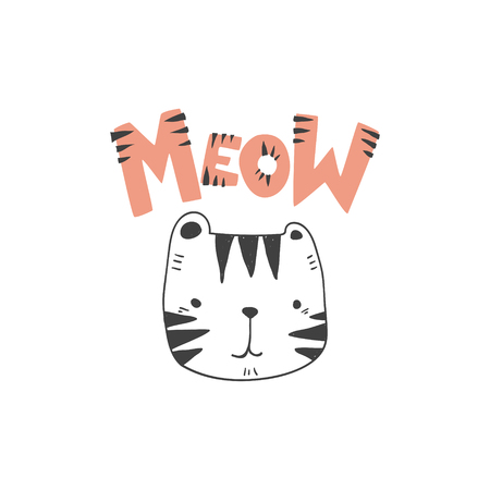 grunge effected cute colored tiger head drawing as vector with meow hand drawn lettering. cute illustration for kid clothing print textile banner. 矢量图像